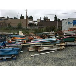 LARGE GROUP OF ASSTD PALLET RACKING MATERIAL & SCRAP STEEL