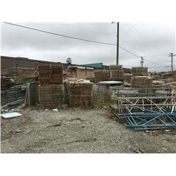 LARGE LOT OF MESH DECK, ASSTD SCRAP STEEL (ALL THE METAL ON BACK COMPOUND WALL UNLESS OTHERWISE