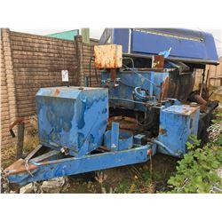 OLD BLUE ASPHALT TRAILER & BLUE CANOPY
