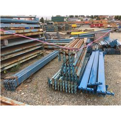 LARGE GROUP OF ASSTD PALLETRACKING HARDWARE, BEAMS, SCRAP STEEL ECT.