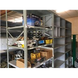 9' DOUBLE ROW GREY METAL SHELVING UNIT & CONTENTS OF SHELVES