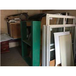 ALL ITEMS IN CORNER, OFFICE DESK, ASSTD DOORS, 2 ROUND PATIO TABLES, DOUBLE GLAZED VINYL FRAMED