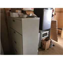DANBY BAR FRIDGE, SMALL WHITE MICROWAVE, LATERAL FILING CABINET & SMALL 2 DRAWER FILING CABINET,