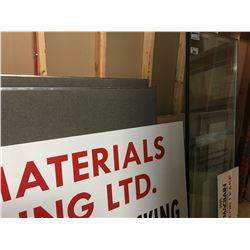 GROUP OF ITEMS LEANING AGAINST OFFICE WALL - LARGE PAINTED SIGN, 2 LARGE DOUBLE GLAZED WINDOW