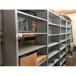 12' DOUBLE ROW GREY METAL SHELVING UNIT & CONTENTS OF SHELVES