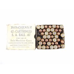 "WINCHESTER .45"" S.A.BALL AMMO FOR USE IN MACHINE GUNS"