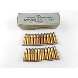 7.63 MAUSER CAL AMMO, ON STRIPPER CLIPS