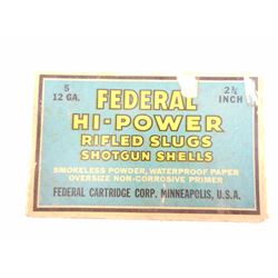 FEDERAL HI-POWER 12 GA. RIFLED SLUGS 'RARE'