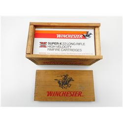 WINCHESTER SUPER-X 22 LONG RIFLE AMMO, IN WOODEN WINCHESTER BOX