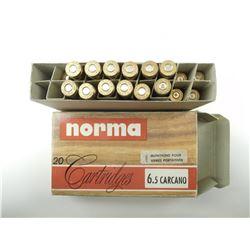 NORMA 6.5 CARCANO AMMO, BRASS