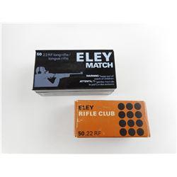 ELEY RIFLE MATCH/RIFLE CLUB 22 LONG RIFLE AMMO