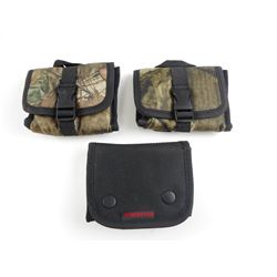 303 BRITISH AMMO, IN CAMO CANVAS POUCHES, BLACK POUCH