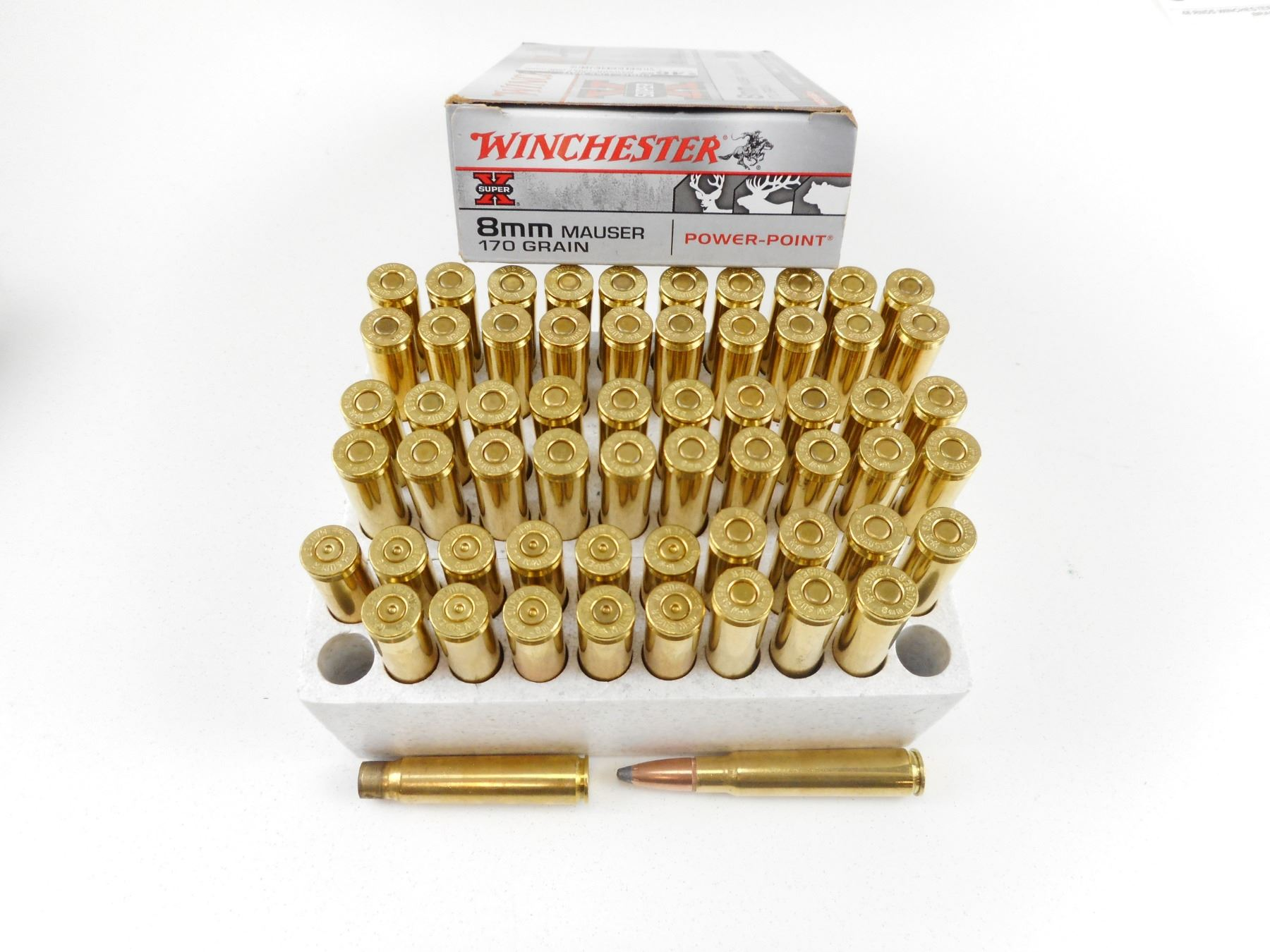 WINCHESTER 8MM MAUSER AMMO, BRASS CASES
