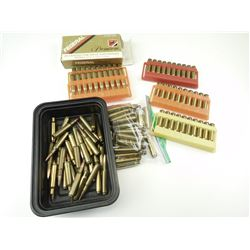 7MM AMMO ASSORTED, BRASS CASES, SOME PRIMED