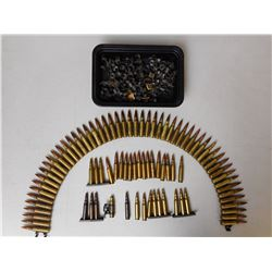 7.62 NATO BALL AMMO, BLANKS, BRASS, SOME ON LINKS