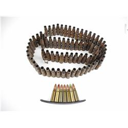 7.62 X 39 TRACERS, ON STRIPPER CLIP, MACHINE GUN LINKS OF SPENT CASES, 7.62 BRASS CASES