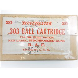 WINCHESTER .303 BALL CARTRIDGE R.A.F. AMMO