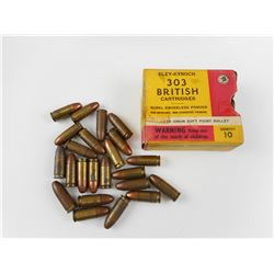 MILITARY 303 BRITISH, 9MM ASSORTED, SOME MILITARY