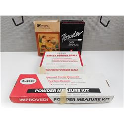 LEE POWDER MEASURE KIT, RELOADING BOOKS, POWDER SCALE