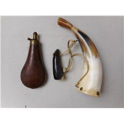 LEATHER POWDER FLASK, AND POWDER HORN