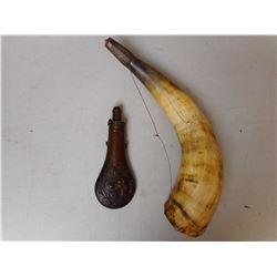 LARGE POWDER HORN, AND POWDER FLASK