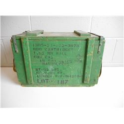 WOODEN AMMO BOX WITH METAL TIN INSIDE