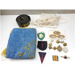 MILITARY BADGES, UNIFORM PIECES AND TAPESTRY