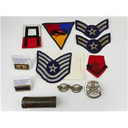 ASSORTED MILITARY PATCHES, U.S. AIRFORCE BADGES, PRESIDENTIAL RIBBON BARS & CAMO STICK