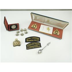 ROYAL CANADIAN MOUNTED POLICE CAP BADGES, COMMEMORATIVE COIN & SPOON