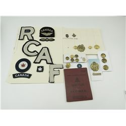 WWII CANADIAN R.C.A.F. FLASHES, BUTTONS, HAT BADGE & PAY BOOK