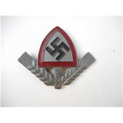 WWII GERMAN NATION LABOUR SERVICE CAP BADGE