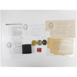 WWII GERMAN WOUND BADGES WITH PAPERWORK FROM 2ND LIEUTENANT HARRY LINDNER