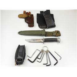 FIGHTING KNIFE, NON-MATCHING SHEATH & ALLEN KEYS