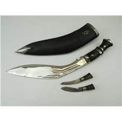 KUKRI WITH ACCESSORIES & SHEATH MARKED TO INDIAN ARMY GURKHA REGIMENT BADGE