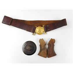 WWI PRUSSIAN DETACHABLE SPIKE BASE, NAVY REVOLVER GRIPS & MILITARY BELT & BUCKLE