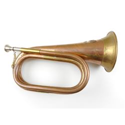 BRASS BUGLE WITH U.S. CALVARY 7TH A BADGE