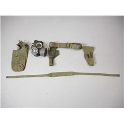 WWII & 1950'S GAS MASK, HOLSTER & AMMO POUCH