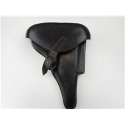 WWII GERMAN P08 LUGER  BLACK LEATHER HOLSTER
