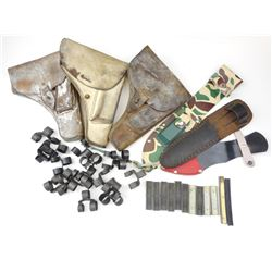 LEATHER TOKAREV HOLSTERS, ASSORTED SHEATHS, & STIPPER CLIPS/AMMO LINKS