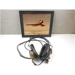 FRAMED F86 SABRE JET PHOTO & CANADIAN RADIO HEAD SET
