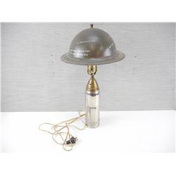 WWII ARTILLERY SHELL & CANADIAN/ BRITISH HELMET LAMP/ TRENCH ART