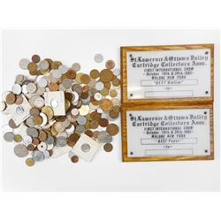 ASSORTED COINS OF THE WORLD & CARTRIDGE COLLECTORS ASSN. PLAQUES