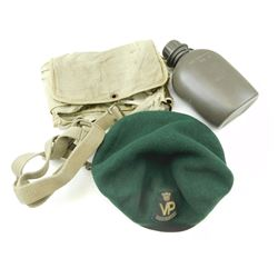 MILITARY CANTEEN, CANTEEN CARRIER, CANADIAN BERET & ADJUSTABLE TOILET KIT POUCH