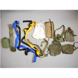 ASSORTED MILITARY POUCHES, GAITERS, & STRAPS