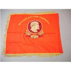 VINTAGE SOVIET UNION VLADIMIR LENIN COMMEMORATIVE FLAG