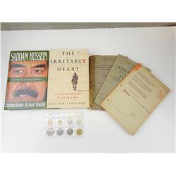 ASSORTED WAR ERA BOOKS & GREEK COIN SET