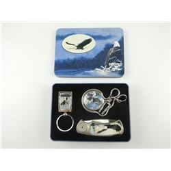 COLLECTABLE EAGLE FOLDING KNIFE WITH POCKET WATCH WITH CHAIN, KEYCHAIN & TIN