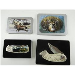 COLLECTABLE WHITETAIL DEER & MOOSE FOLDING KNIVES, WITH TINS