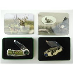 COLLECTABLE WHITETAIL DEER & MOOSE FOLDING KNIVES WITH TINS