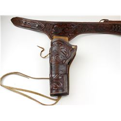 LEATHER WESTERN STYLE HOLSTER AND BELT